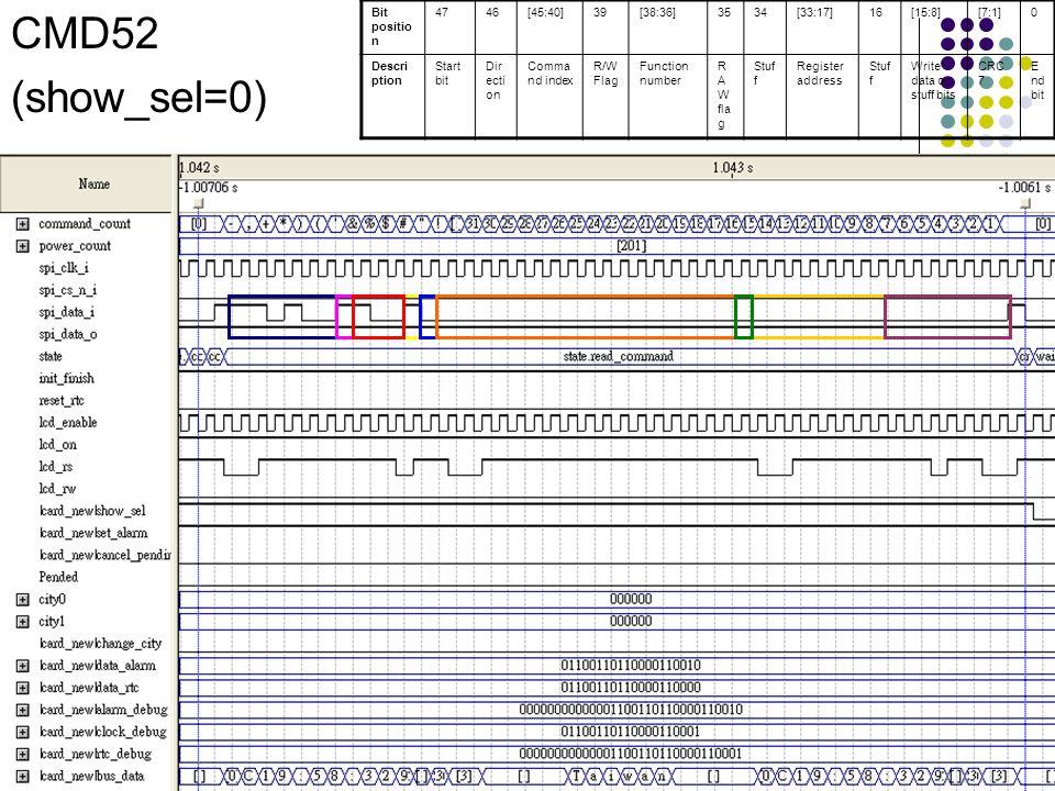 CMD52 (show_sel=0) Bit position 47 46 [45:40] 39 [38:36] 35 34 [33:17]